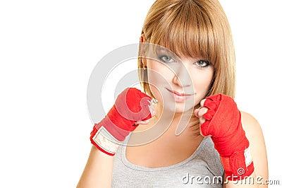 Woman in a glove