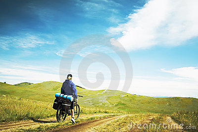 The woman going on a bicycle
