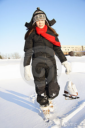 Woman going ice skating