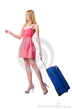 Woman going to  vacation with suitcase