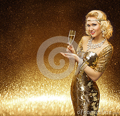Free Woman Gold, VIP Lady Champagne Glass, Golden Fashion Model Royalty Free Stock Images - 62690269