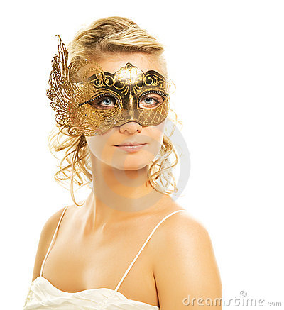 Woman in a golden carnival mask