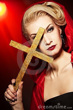 woman with golden cross.