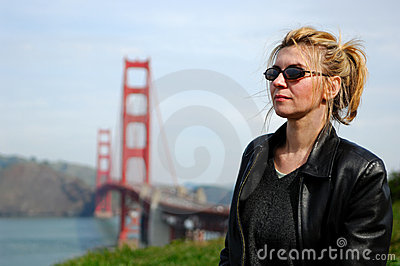 Woman By Golden Gate Bridge
