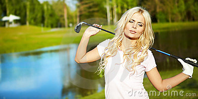 Woman with golf equipment