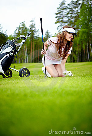 Woman with golf equpment