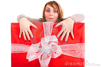 Woman grabing big gift