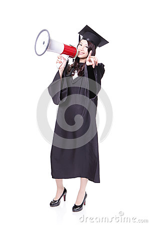 Woman graduate student shouting with megaphone