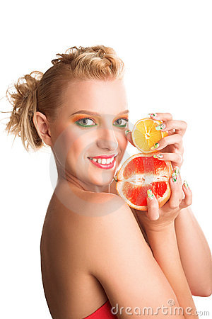 Woman with grapefruit Stock Photo