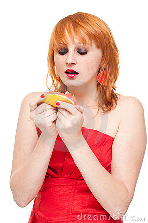 Woman with grapefruit isolated