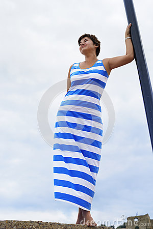 Woman in Greek flag dress