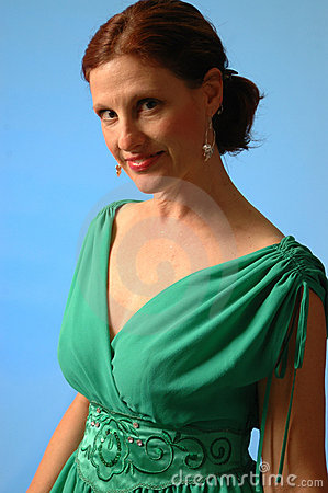 Woman in green dress