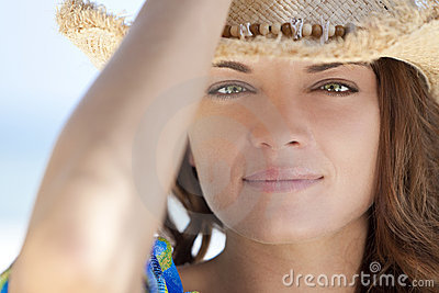 Woman With Green Eyes Wearing Cowboy Hat