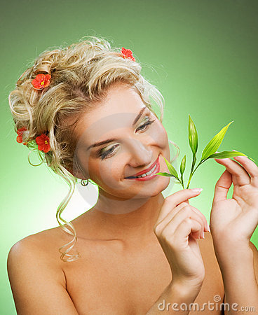 Woman with green plant