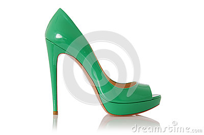 Woman green shoes isolated