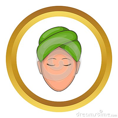 Woman with green towel on her head vector icon Vector Illustration