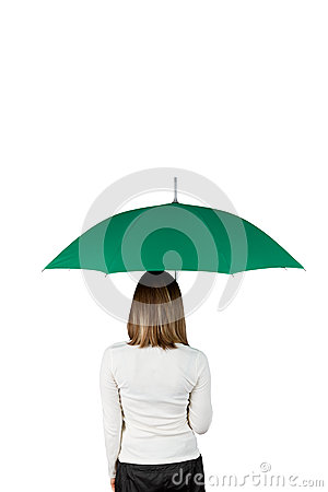 Woman with green umbrella