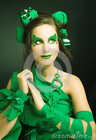 Woman in green.