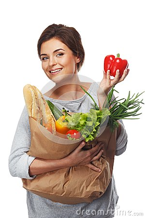 Woman with grocery bag