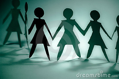 Woman group blue