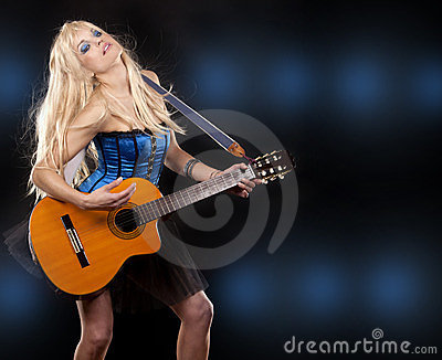 Woman and guitar