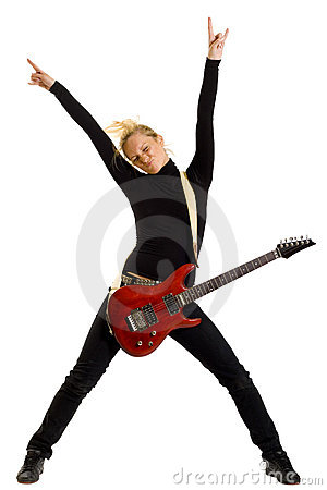 Woman guitarist with hands in the air