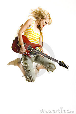 Free Woman Guitarist Jumps In The Air Stock Images - 9538814