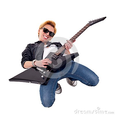 Woman guitarist playing on her knees