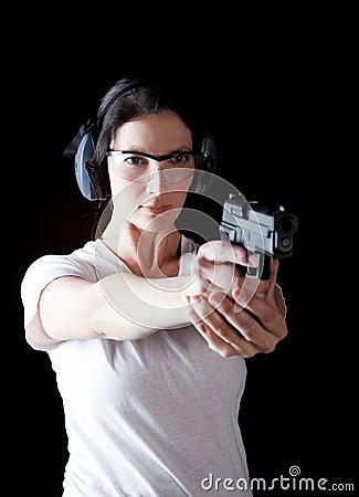 Free Woman Gun Royalty Free Stock Image - 24831456
