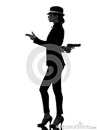 Woman gun gangster killer silhouette