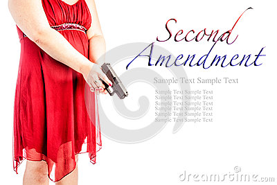 Woman with gun with text
