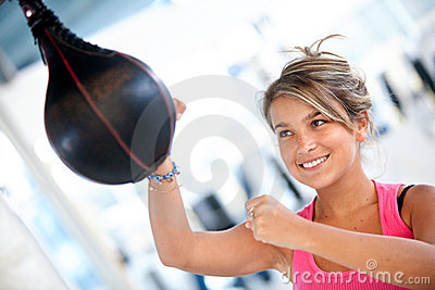 Woman at the gym boxing