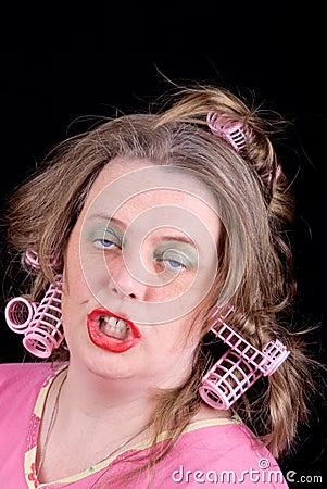 Woman in hair curlers