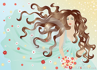 Woman with hair and dress flying in the wind