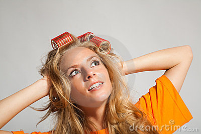 Woman with hair-rollers