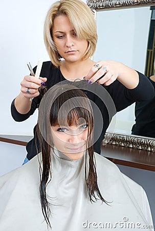 Woman in hair salon