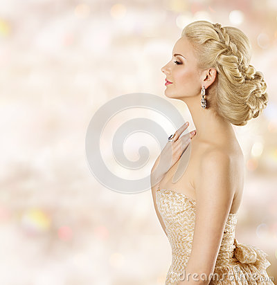 Free Woman Hairstyle, Fashion Model Face Beauty, Girl Blond Hair Style Royalty Free Stock Photography - 83400417