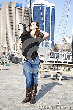 Woman in Halifax harbor