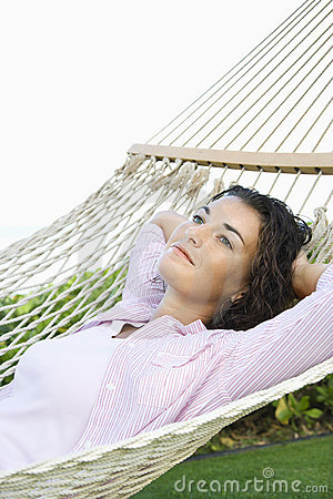 Woman in hammock.