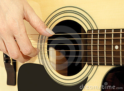 Woman hand on an acoustic guitar