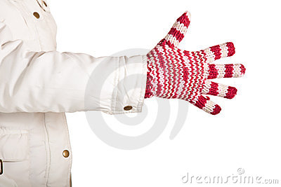 Woman hand in colorful and warm gloves isolated