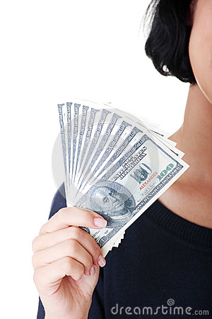 Woman hand with dollars.