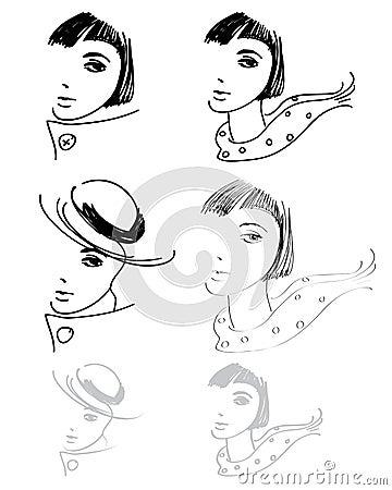 Woman hand drawings