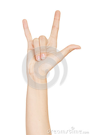 Woman hand giving the devil horns gesture