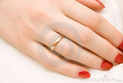 Woman hand with golden ring