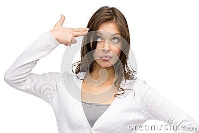 Woman hand gun gesturing