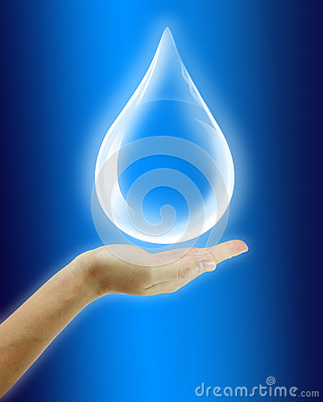 Free Woman Hand Hold Water Drop Stock Photography - 26964462