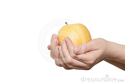 Woman hand holding apple