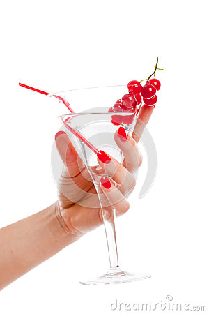 Woman hand holding cocktail