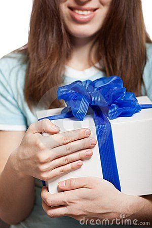 Woman hand holding gift or present box